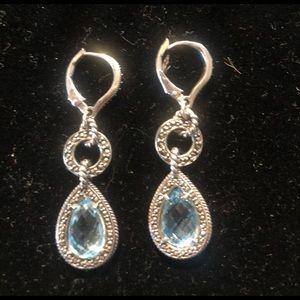"""Judith Jack """"charisma"""" blue topaz teardrop earring"""